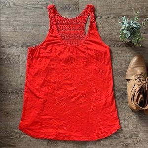 Lucky Brand red lace tank top